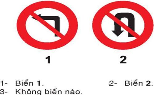 Câu hỏi 23: Khi gặp biển nào xe được rẽ trái?