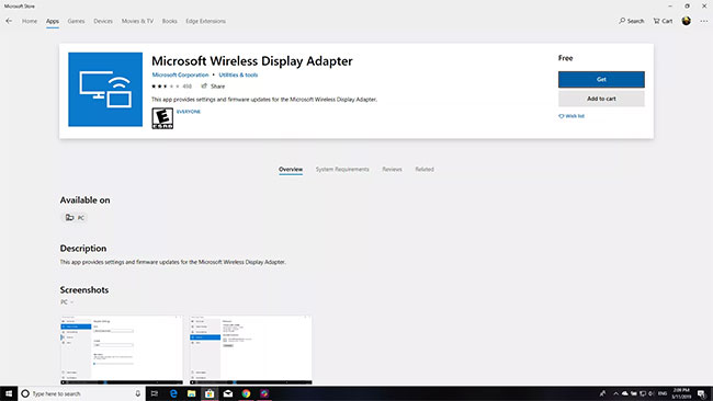 Cài đặt ứng dụng Microsoft Wireless Display Adapter