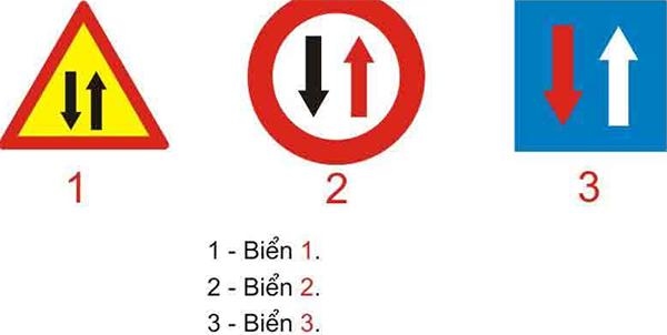 Câu hỏi 20: Biển nào báo hiệu đường hai chiều?