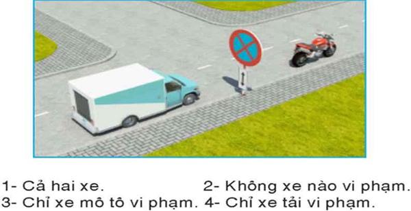 Câu hỏi 23: Xe nào đỗ vi phạm quy tắc giao thông?