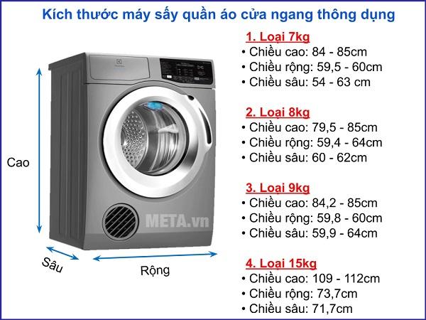Kích thước máy sấy quần áo thông dụng