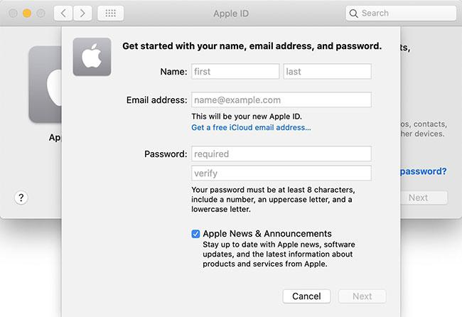 """Nhấp vào tùy chọn """"Create Apple ID..."""""""