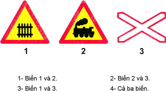 Câu hỏi 22: Biển nào báo hiệu đường sắt giao nhau với đường bộ không có rào chắn?