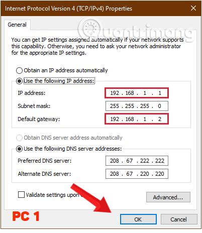 Điền các thông số cho máy tính thứ nhất