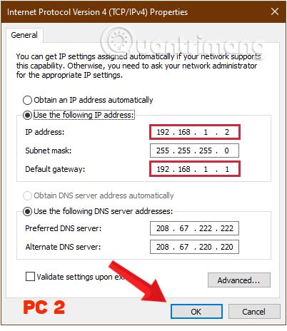 Điền các thông số cho máy tính thứ hai