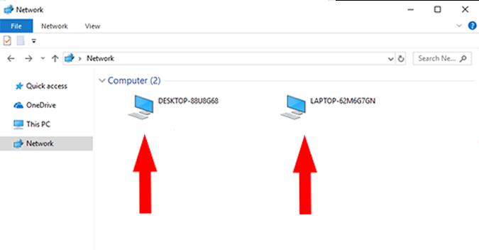 Cả hai PC sẽ xuất hiện trong cửa sổ Network này trên cả hai máy tính