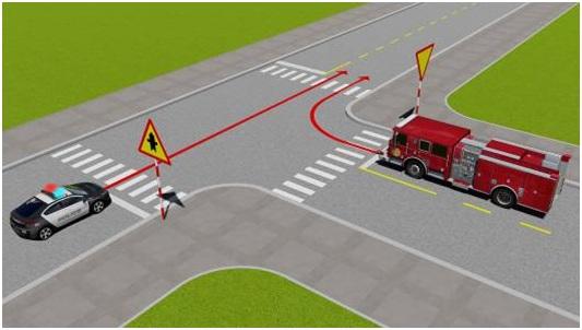 Câu 4: Xe nào được quyền đi trước trong trường hợp này?