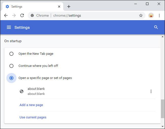 Thay đổi trang chủ của trình duyệt web để loại bỏ about:blank
