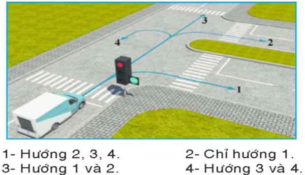 Câu hỏi 25: Theo tín hiệu đèn, xe tải đi theo hướng nào là đúng quy tắc giao thông?