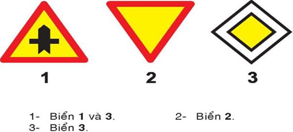 Câu hỏi 21: Biển nào báo hiệu giao nhau với đường ưu tiên?