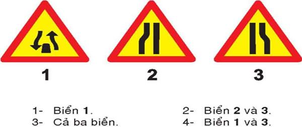 Câu hỏi 23: Khi gặp biển nào, người lái xe phải giảm tốc độ, chú ý xe đi ngược chiều, xe đi ở phía đường bị hẹp phải nhường đường cho xe đi ngược chiều?