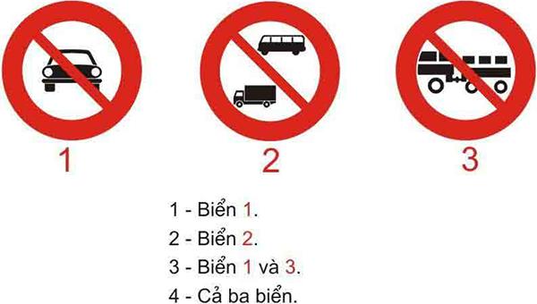 Câu hỏi 21: Biển nào cấm các loại xe cơ giới đi vào, trừ xe gắn máy, xe mô tô 2 bánh và các loại xe ưu tiên theo luật định?