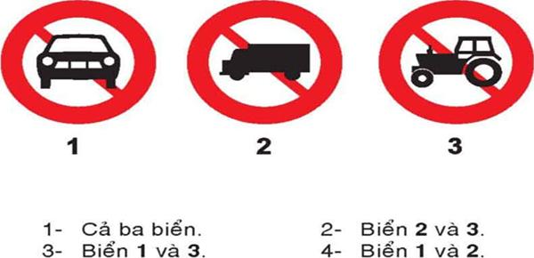 Câu hỏi 22: Biển nào cấm ô tô tải?