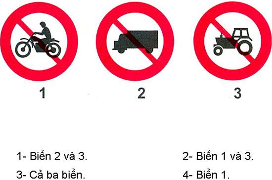 Câu hỏi 23: Biển nào cấm máy kéo?