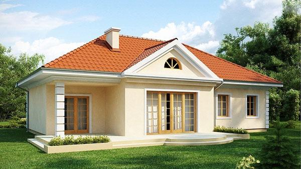 Một mẫu nhà ba gian hiện đại với cửa kính và phần mái được xây dựng chắc chắn