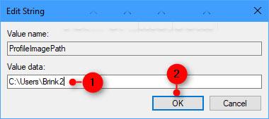 Thay đổi tên hiện tại của thư mục profile người dùng trong đường dẫn đầy đủ thành những gì bạn muốn