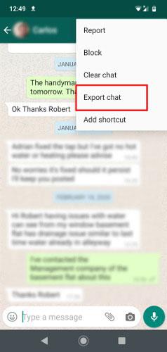 Nhấn vào More > Export chat