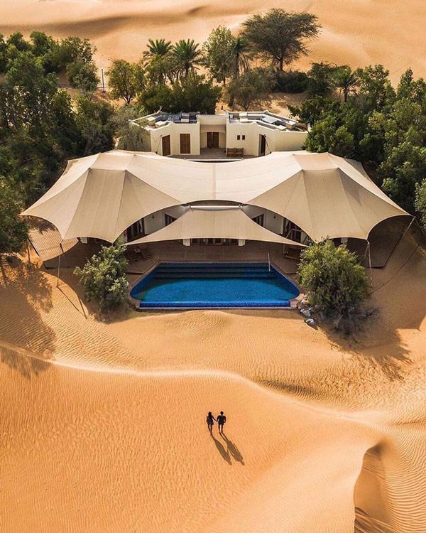 Một khu nghỉ dưỡng đẳng cấp mọc lên giữa sa mạc Dubai như một hòn đảo nhỏ