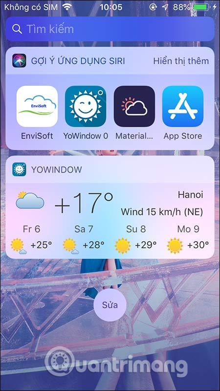 Theo dõi thời tiết ngoài màn hình iPhone