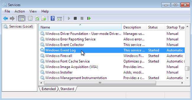 Xác định vị trí service Windows Event Log
