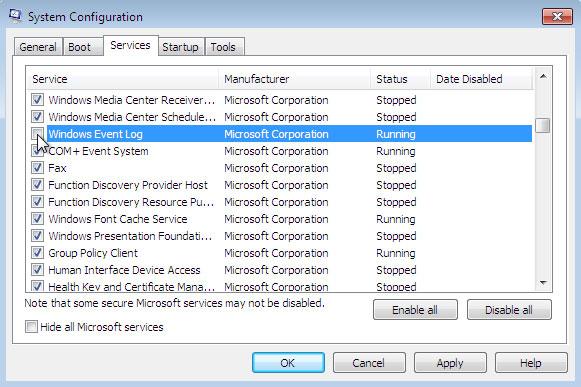Tìm service Windows Event Log