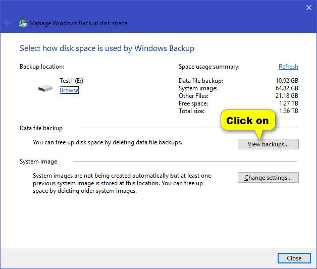 Nhấn vào nút View backups