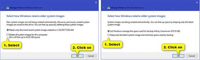 Chọn cách bạn muốn Windows giữ lại image hệ thống cũ
