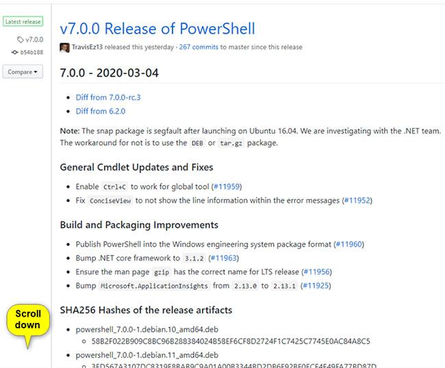 Cuộn xuống phần Assets cho Powershell 7.0.0