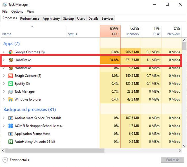 Có thể giảm/giới hạn mức sử dụng CPU của HandBrake