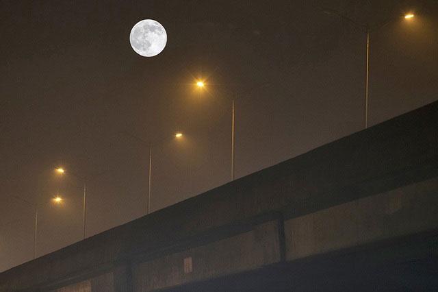 Quan sát Siêu trăng to, tròn từ dưới chân cầu.