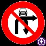 Biển số 124f: Cấm ô tô rẽ phải và quay đầu xe