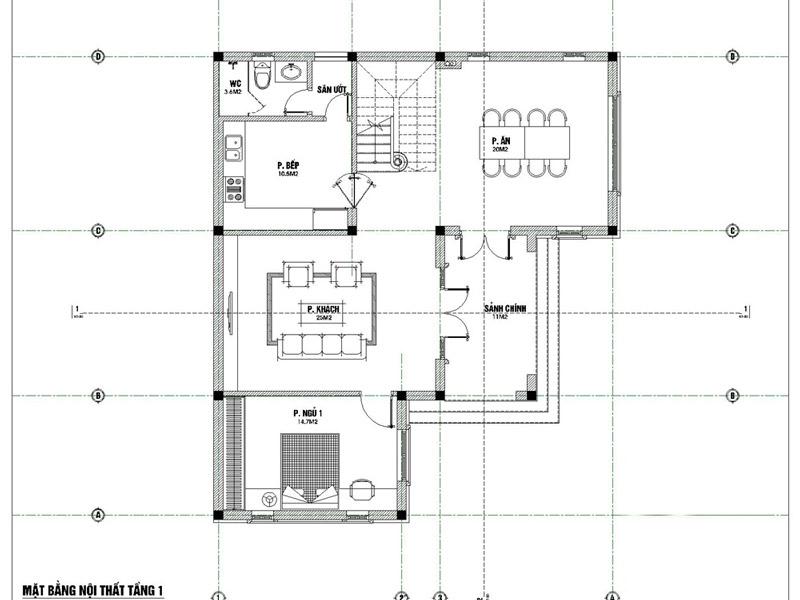 Biệt thự 3 tầng 5 phòng ngủ phong cách hiện đại 2