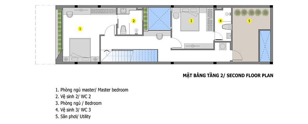 Bản vẽ nhà ống 2 tầng đẹp, giá rẻ tầng 2