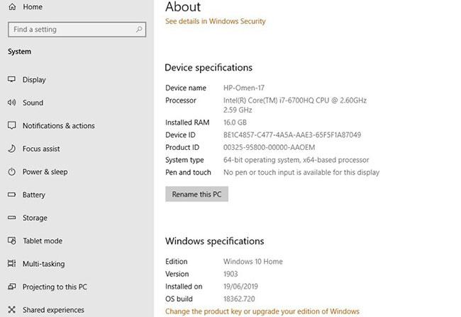 Kiểm tra phiên bản Windows 10