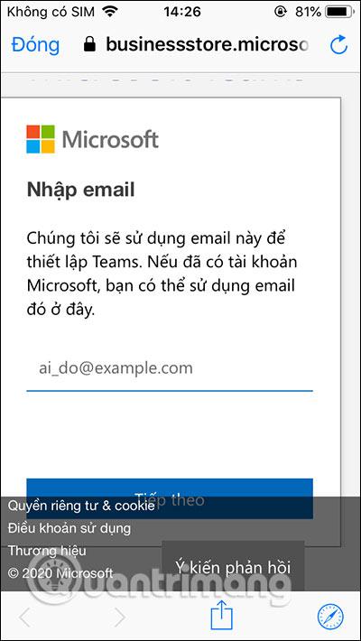 Nhập email