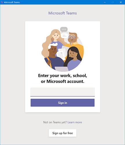 Đăng nhập bằng địa chỉ email công ty của bạn hoặc tài khoản được liên kết với Microsoft Teams