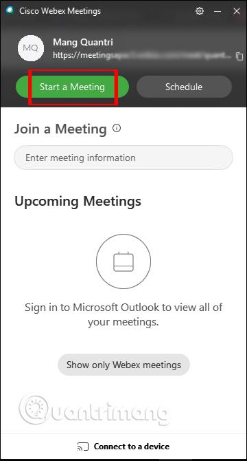 Giao diện Webex Meet trên PC