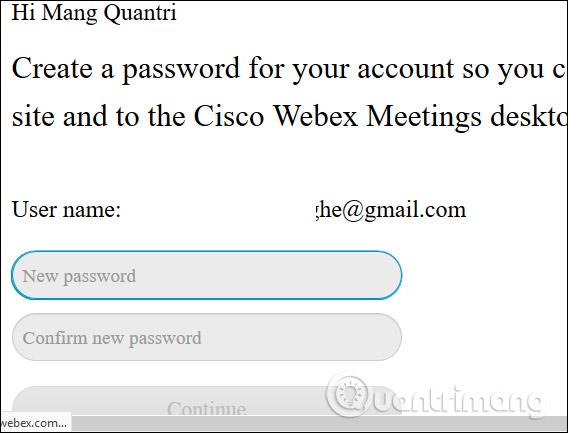 Tạo mật khẩu Webex Meet