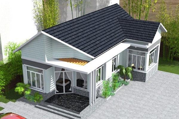 Nhà cấp 4 dạng mái thái nhà ống hiện đại với diện tích 5x20m