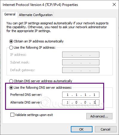 Đổi DNS cho giao thức IPv4