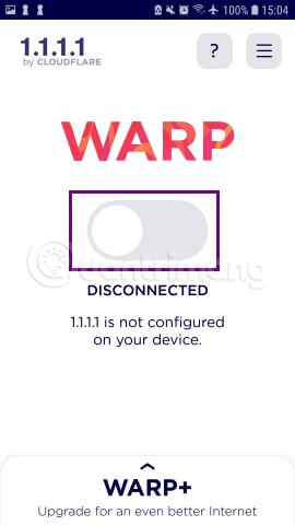 Gạt nút sang phải để kết nối VPN