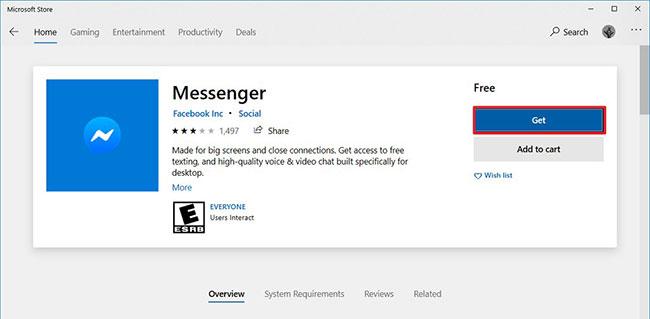 Nhấp vào nút Get (hoặc nút Install) để tải ứng dụng Facebook Messenger về máy