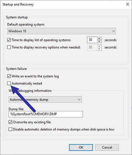 Bỏ chọn hộp kiểm Automatically restart