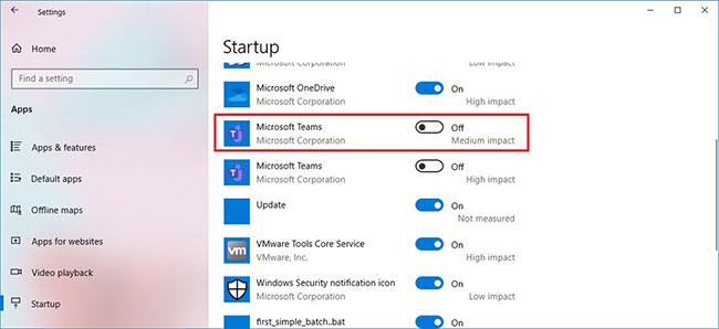 Tắt công tắc chuyển đổi Microsoft Teams