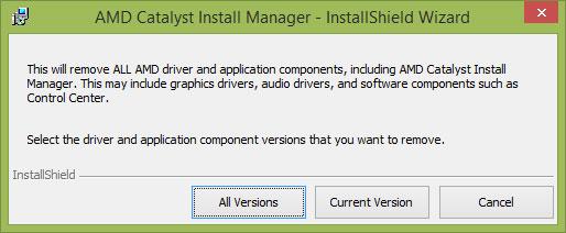 Nhấp vào All Versions để cho phép AMD Catalyst Install Manager xóa tất cả các phiên bản trước đó của driver AMD