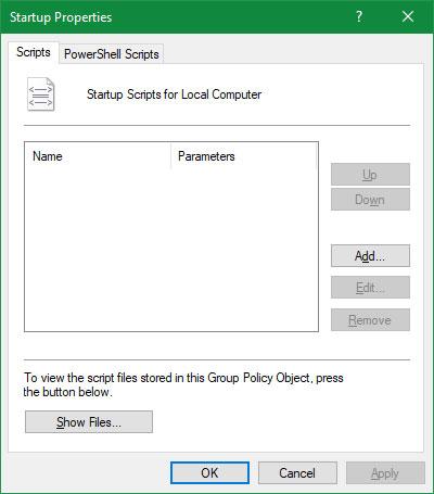 Chạy script khi đăng nhập/khởi động/tắt máy
