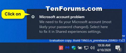 Nhấp vào thông báo Microsoft account problem