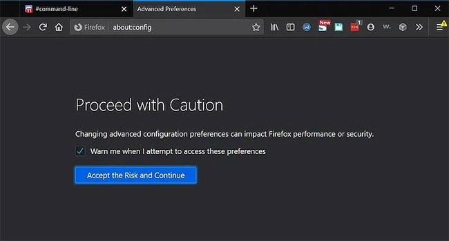 Nhập about:config vào thanh địa chỉ Firefox và nhấp vào phần cảnh báo