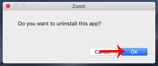Nhấn Ok đồng ý xóa Zoom