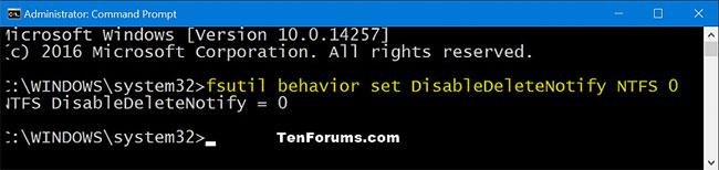 Cách bật hỗ trợ TRIM cho hệ thống file NTFS và ReFS